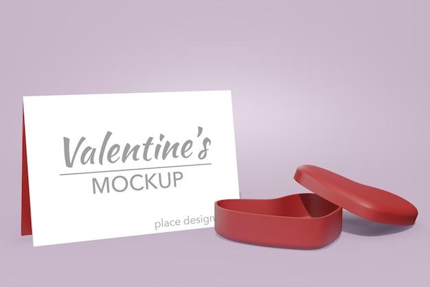 Mooie gelukkige valentijnsdag achtergrond concept in 3d-model kaartmodel