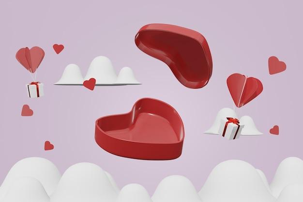 Mooie gelukkige valentijnsdag achtergrond concept in 3d-model mockup
