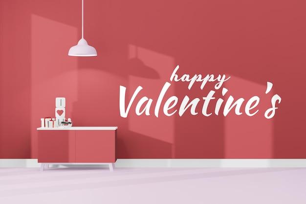 Mooie gelukkige valentijnsdag kamer achtergrond concept in 3d-model mockup