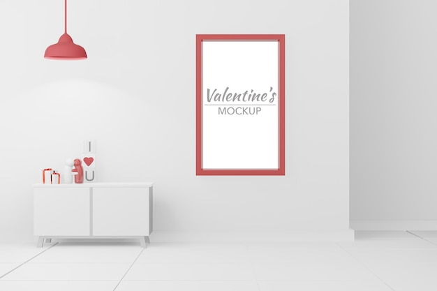 Mooie gelukkige valentijnsdagkamer met frame in 3d-modelmodel Premium Psd