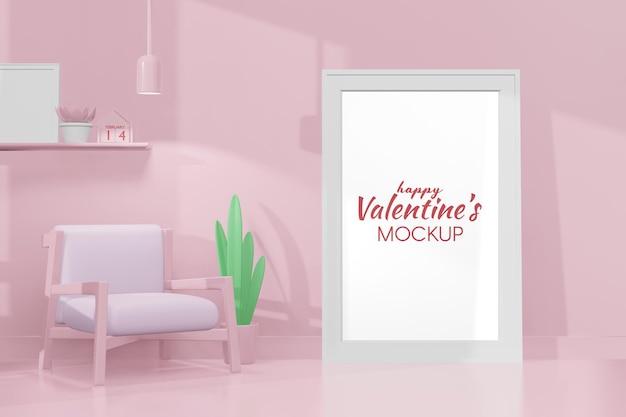 Mooie happy valentijnsdag kamer met frame mockup in 3d-rendering