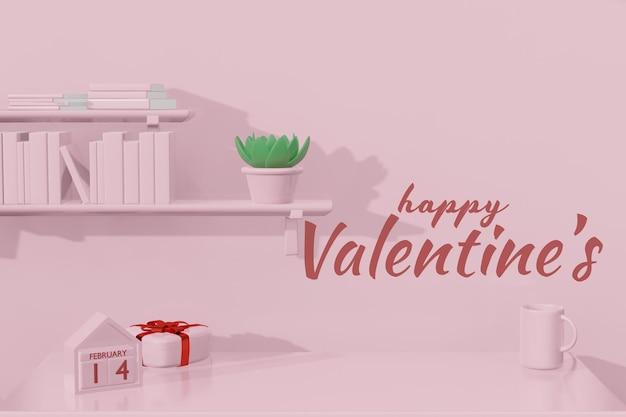 Mooie happy valentijnsdag kamer mockup in 3d-rendering