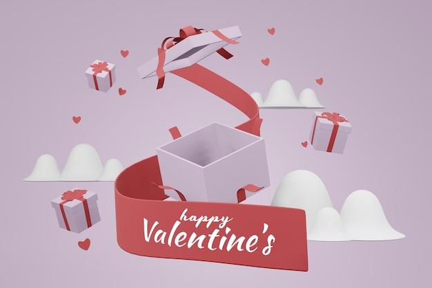 Mooie happy valentijnsdag mockup achtergrond concept in 3d-rendering