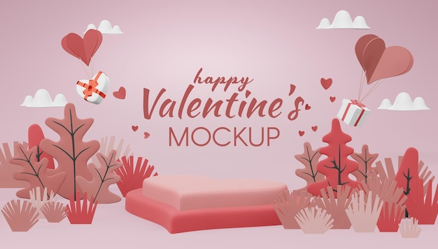 Mooie happy valentines day mockup concept in 3d-rendering