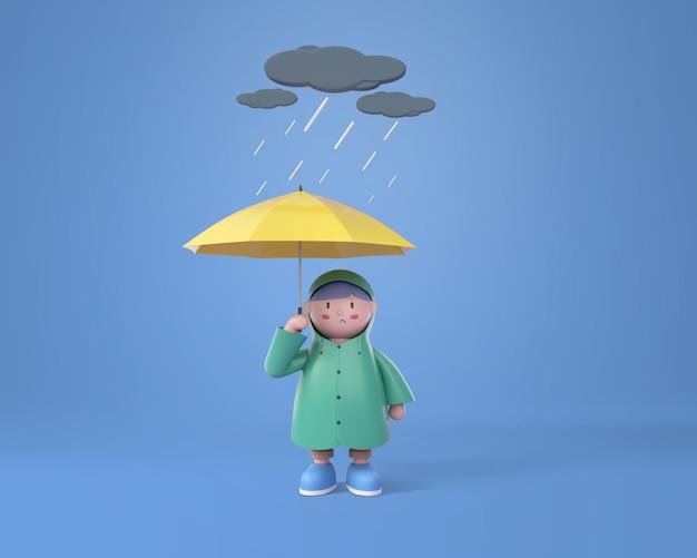 Mooie jongen die regenjas draagt met een paraplu op een regenachtige dag, zwarte wolk en donder