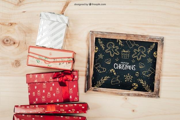 Mooie mockup met christmtas-ontwerp