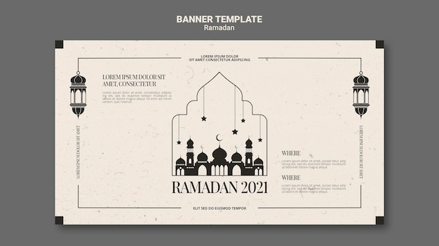 Mooie ramadan horizontale banner sjabloon