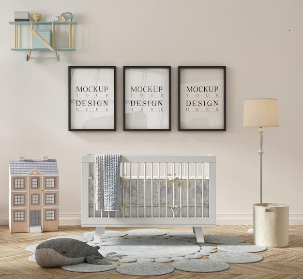 Mooie schattige kinderkamer met ingelijste mockup-poster
