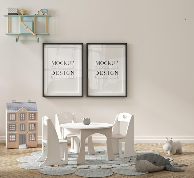 Mooie schattige kleuterklaskamer met ingelijste mockup-poster