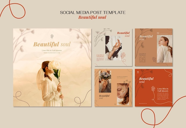 Mooie soul-advertentie social media postsjabloon