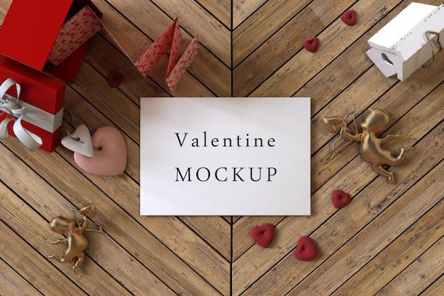 Mooie valentijnsdag giftcard concept mockup