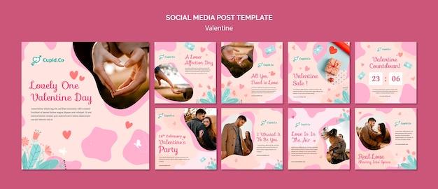 Mooie valentijnsdag instagram postsjabloon Gratis Psd
