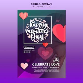 Mooie valentijnsdag poster sjabloon met foto