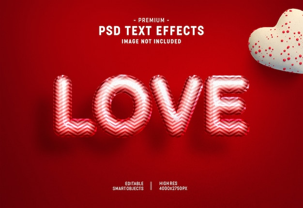 Mooie valentine ballon teksteffect sjabloon
