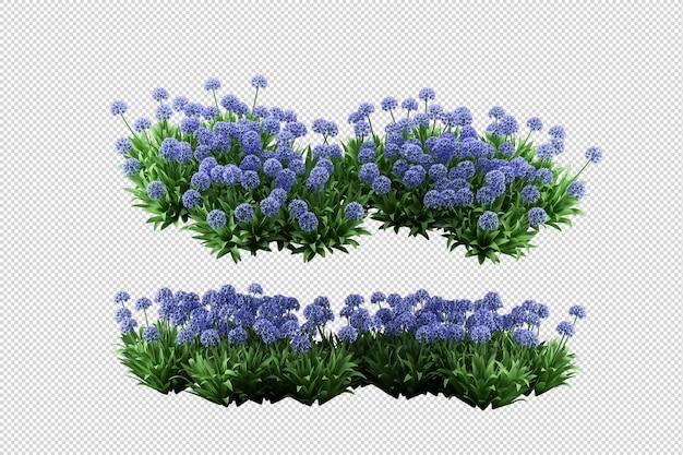 Mooie verschillende soorten bloemen in 3d-rendering geïsoleerd