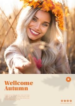 Mooie vrouw met bladeren kroon websjabloon