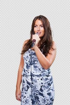 Mooie vrouw zingt