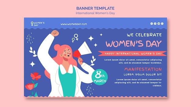 Mooie vrouwendag bannermalplaatje geïllustreerd