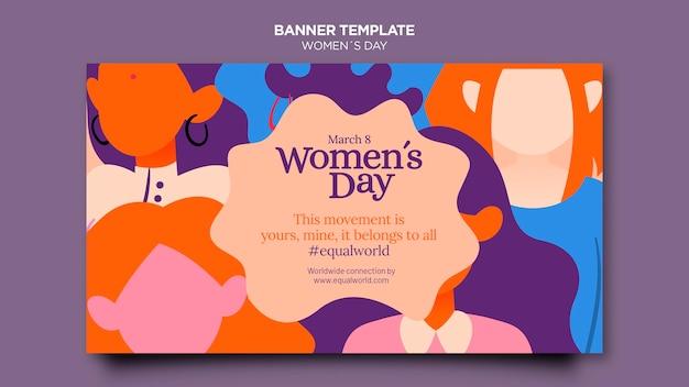 Mooie vrouwendag horizontale banner sjabloon geïllustreerd