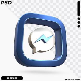 Mooie weergave van facebook messenger-logo Premium Psd