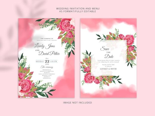 Mooie zachte rode bruiloft uitnodiging sjabloon premium psd
