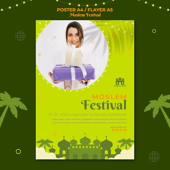 Moslim festival poster afdruksjabloon