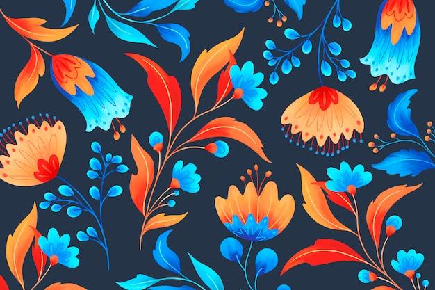 Motivo floreale ornamentale con fiori romantici