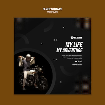 Motorfiets concept flyer vierkant
