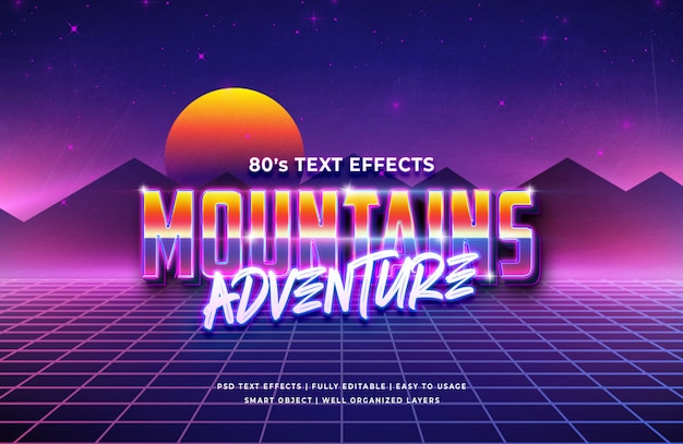 Mountain adventure 80's retro tekst effect