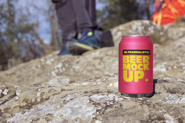 Mountain beer can mockup