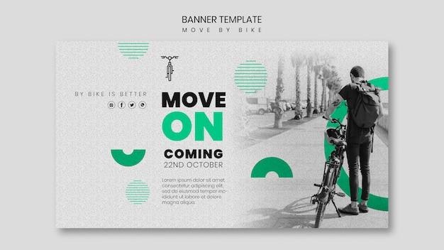 Mover en bicicleta diseño de banner