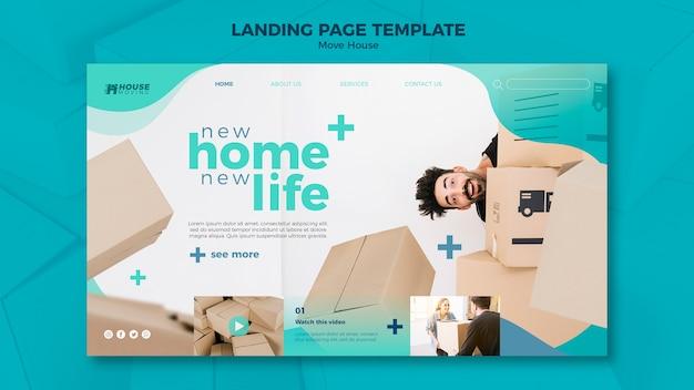 Mover plantilla de página de aterrizaje de concepto de casa