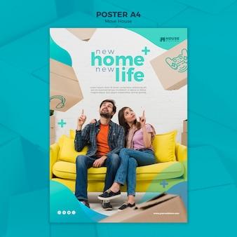 Mover plantilla de póster de concepto de casa