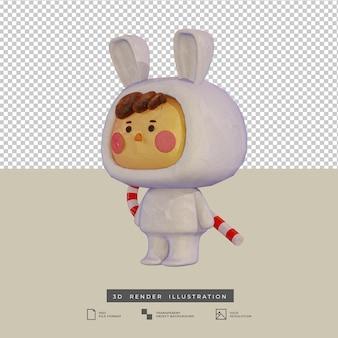 Muchacho lindo del estilo de la arcilla con el traje del conejo y la ilustración 3d del bastón de caramelo aislado