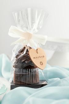 Muffin in doorzichtige verpakking