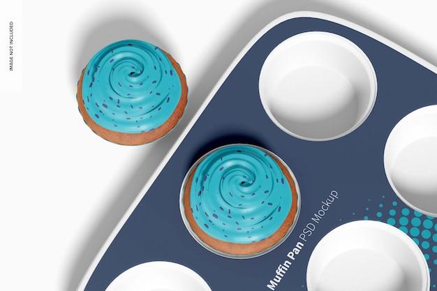 Muffin pan mockup, close-up