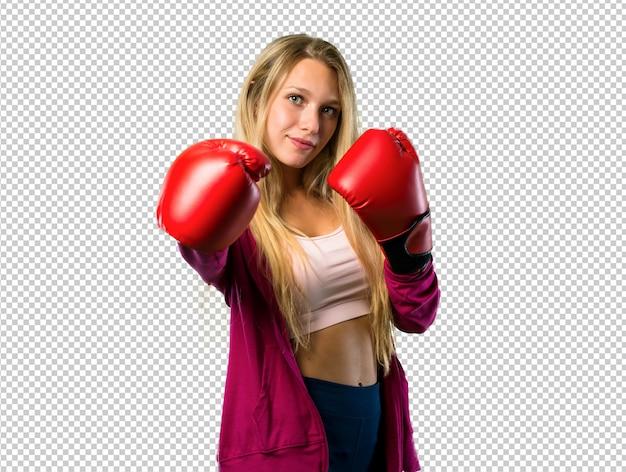 Mujer bonita deporte con guantes de boxeo