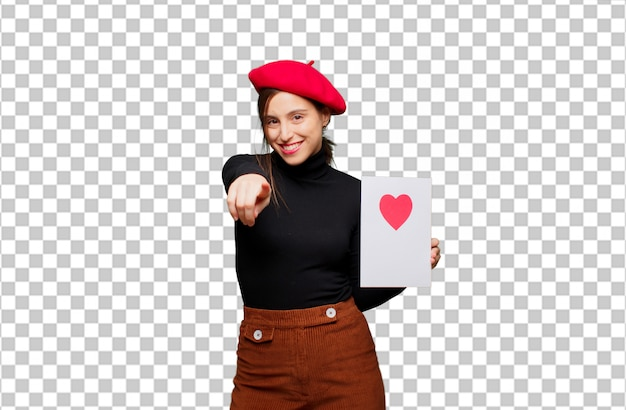 Mujer bonita joven que expresa el concepto del amor para el día de tarjetas del día de san valentín