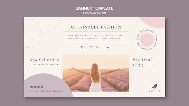 Mujer en el campo plantilla de banner de moda sostenible