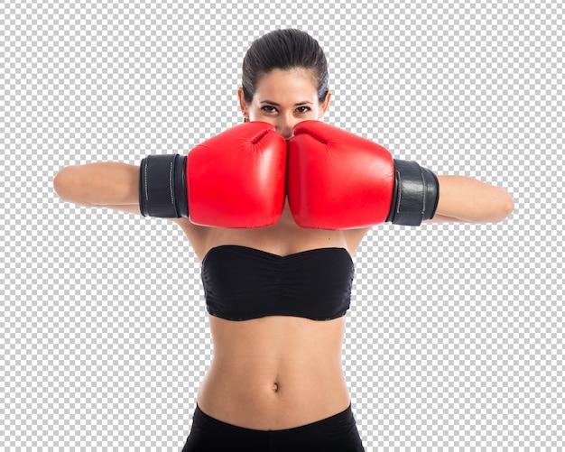Mujer de deporte con guantes de boxeo
