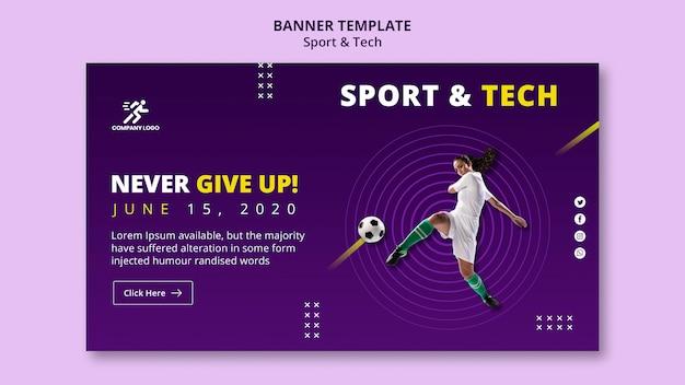 Mujer golpeando la plantilla de banner de fútbol