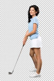 Mujer joven golfista