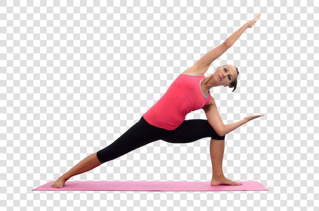 Mujer joven haciendo ejercicios de yoga, archivo psd en capas