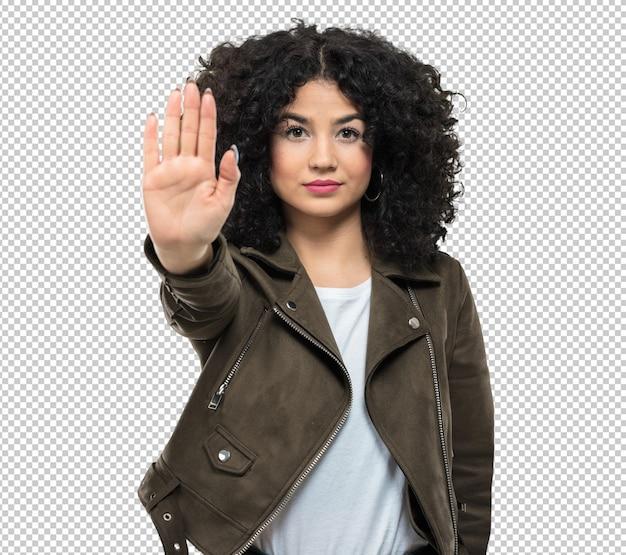 Mujer joven haciendo gesto de parada