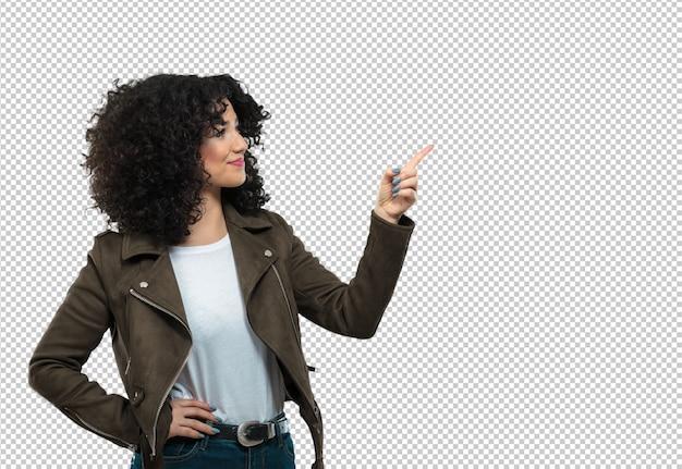 Mujer joven, señalar a un lado