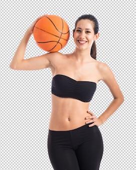 Mujer, jugar al básquetbol