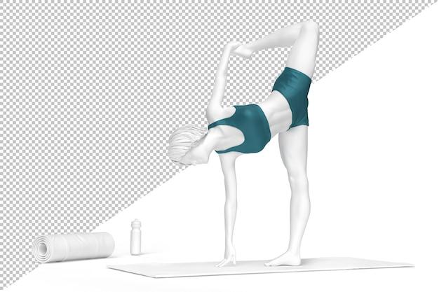 Mujer en natarajasana o pose de señor de la danza durante la práctica del yoga