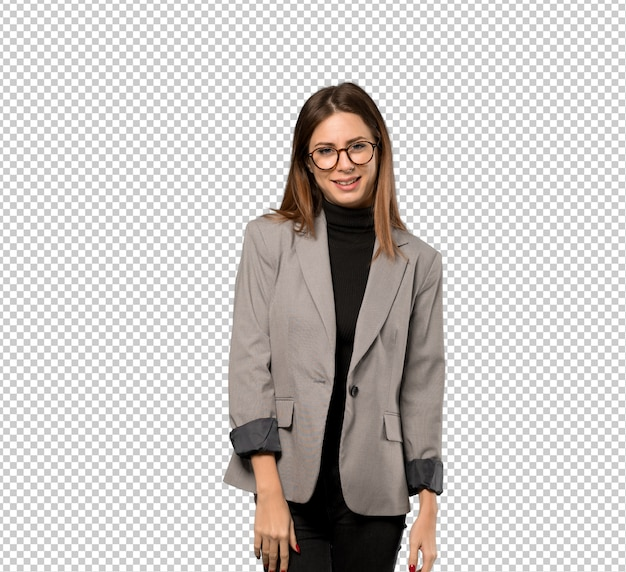 Mujer de negocios con gafas y feliz