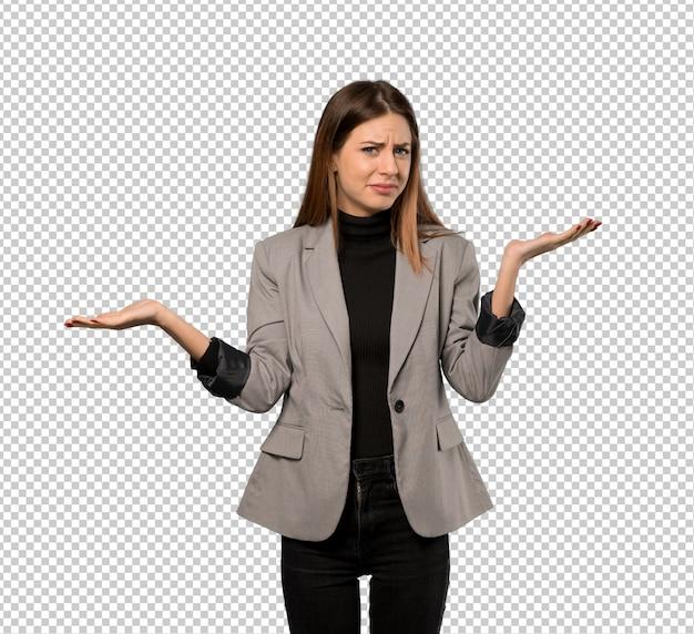 Mujer de negocios infeliz porque no entiende algo.
