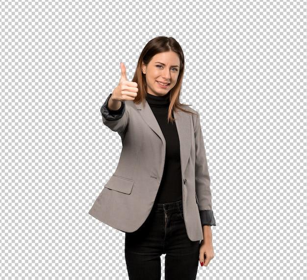 Mujer de negocios con los pulgares arriba porque algo bueno ha sucedido.